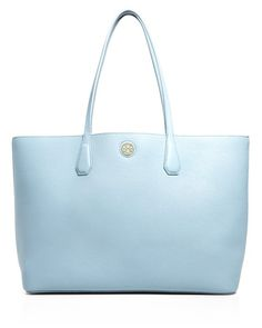 TORY BURCH Perry Tote Blue Cloud/Tory Navy $340 (Compare elsewhere at $400) - LOCAL ORDER PICK UP AT THE TRUMP BUILDING IN NYC - OR FREE DELIVERY WORLDWIDE - OUR OFFICIAL WEBSITE: annesofnewyork.com