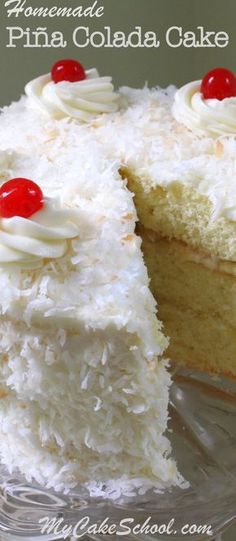 This AMAZING homemade Piña Colada Cake recipe is perfect for summer gatherings! Moist coconut cake layers with crushed pineapple filling, a hint of rum, and a flavorful Piña Colada Cream Cheese Frosting! MyCakeSchool.com. via @mycakeschool