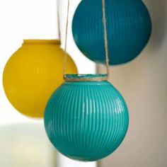use acrylic paint and coat glass globes once dry, use a hot glue gun and wrap the rope around the top. such an easy and cute decorating idea!