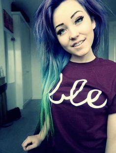 #purple #blue #green #dyed #scene #hair #pretty