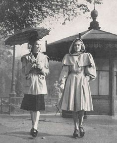 Two wonderful, timelessly classic 1940s coats (I especially love the hooded one).