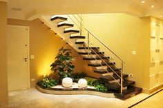 Choose from the largest collection of Interior, Exterior Design and Decorating Ideas to add style at home/office. Discover best Interior, Exterior inspiration photos for remodel & renovate, here. Small Garden Under Stairs, Space Under Stairs, Interior Garden, Best Interior, Interior Stairs, Interior Ideas, Inside Garden, Stair Decor, Modern Stairs
