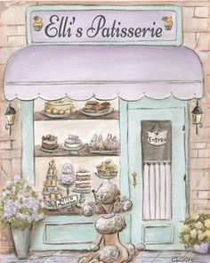 Paris Decor for your little girl's Paris bedroom! This is my Paris Patisserie print - that can be personalized with girl's name. Visit my Etsy shop to see my adorable, personalized prints of Paris, Italy, London and more!
