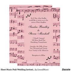 Sheet Music Pink Wedding Invitation 25% off