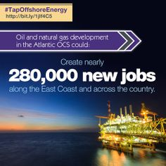 Oil and natural gas development in the Atlantic OCS could create nearly 280,000 new jobs along the East Coast and across the country.