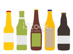 Different Kinds of Beer Bottles Royalty Free Stock Vector Art Illustration