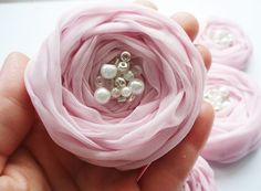 Flowers made from pink chiffon.
