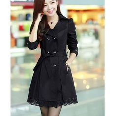Womens Winter Double Breasted Belt Lace Slim Trench Coat Long Jacket Outerwear