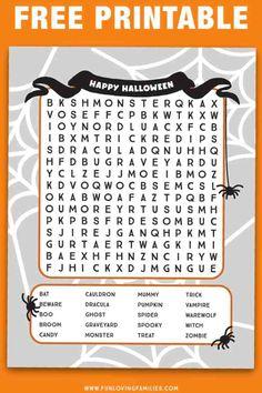 Halloween School Treats, Halloween Words, Halloween Word Search Printables, Halloween Worksheets, Halloween Activities For Kids, Activity Sheets For Kids, Printable Calendar Template