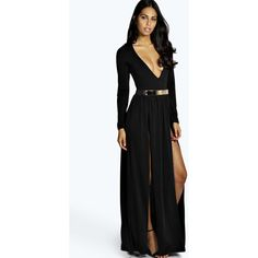 Boohoo Night Libby Thigh Split and Gold Belt Maxi Dress ($40) ❤ liked on Polyvore featuring dresses, black, kohl dresses, maxi dress, black dress and black maxi dress