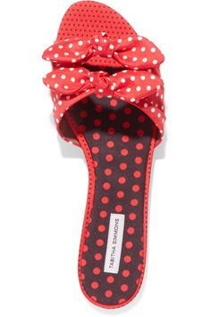 Tabitha Simmons | Cleo bow-embellished polka-dot satin-twill slides | NET-A-PORTER.COM #mules #summer sandals