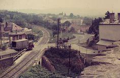 1975. Eger, Leányka utca Hungary, Railroad Tracks, Train, Strollers, Train Tracks