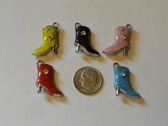 Silver 3D Enameled Boot Charms 5 pcs V5047 by JacsStash on Etsy