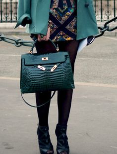 Hermes Kelly in green crocodile with gold accents