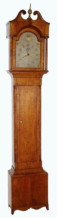 New England tiger maple tall case clock, c1810, ...~♥~