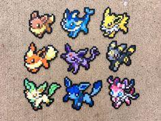 Eevee | Vaporeon | Jolteon | Flareon | Umbreon | Espeon | Leafeon | Glaceon | Sylveon | Pokemon | Perler Bead | 8bit | Nintendo | Sprite |