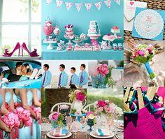 Aqua and Pink Wedding - Bottom left corner pic ....aqua dresses with pink bouquets.
