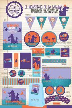 Melinterest Argentina. Kit Imprimible El Monstruo De La Laguna Cuanticuenticos! Ideas Para, Cami, Roman, Toddler Birthday Pictures, Birthday Cards, Bebe