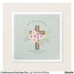 Confirmation Pink Sage Floral Napkins Personalized