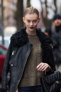 This model fresh off of the Fendi runway brings that dark lip to the streets.   - HarpersBAZAAR.com