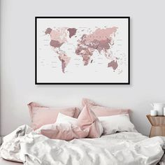 World Map Bedroom Decor Blush Pink Bedroom, Pink Bedroom Decor, Pink Bedrooms, Gray Bedroom, Bedroom Wall, Bedroom Ideas, Bedroom Inspo Grey, Pink And Grey Bedding, Bedroom Posters