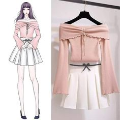 Ideas For Clothes Drawing Korean Cute Fashion, Asian Fashion, Look Fashion, Girl Fashion, Fashion Dresses, Womens Fashion, Trendy Fashion, Fashion Art, Fashion Design Drawings