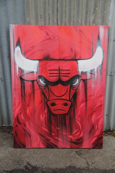 Chicago Bulls Canvas 2013 #graffiti #canvas by #dubiz #nba #bulls #chicagobulls #gobulls #chicago #teamlogo #logo #art #fineart