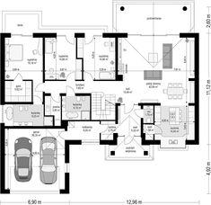 Odbicie lustrzane Powiększ Rzut parteru 1. Wiatrołap 6,32 m2 2. Garderoba 2,75 m2 3. Kotłownia 6,20 m2 4. Garaż dwustanowiskowy 36,30 m2 5. Wc 1,75 m2 6. Hall 15,49 m2 7. Pokój dzienny 42,84 m2 8. Kuchnia 14,50 m2 9. Spiżarnia 1,58 m2 10. Pokój 14,66 m2 11. Korytarz 7,65 m2 12. Łazienka 6,72 m2 13. Pokój 14,66 m2 14. Pom. gospodarcze 3,80 m2 15. Pokój 18,18 m2 16. Garderoba 5,63 m2 17. Łazienka 9,23 m2 Razem 208,26 m2 Rzut poddasza 1. Korytarz 4,89 m2 2. Łazienka 2,93 m2 3. Pokój 20,59 m2 4 Bungalow House Plans, Best House Plans, Dream House Plans, Kerala House Design, Small House Design, Cute House, Good House, Architectural Floor Plans, House Furniture Design