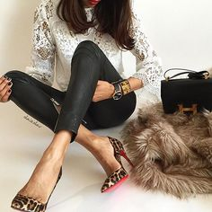 Lace & Leather + a touch of Léo ...♠️ Lace top #zara #zarawoman  Leather pants #aninebing  Watch #cluse  Cuff + Bag #hermes #cdc #constance  Heels #louboutin #louboutinworld #redsoles  Me #olaizolav