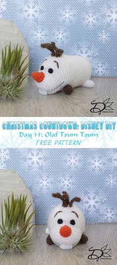 Day 15 already of my christmas countdown, and it's a Olaf Tsum Tsum Amigurumi with a free pattern!