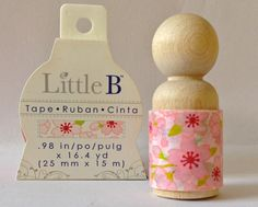 Sakura Wide roll by Little B 25mm wide and hand rolled onto wooden people pegs with 2 yards of tape..