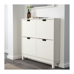 """$90; STÄLL Shoe cabinet with 4 compartments - white - IKEA  Width: 37 3/4 """" Depth: 6 3/4 """" Height: 35 3/8 """""""