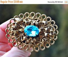 Sapphire Brooch Gold Filigree Vintage Antiqued Gold Filigree Large Oval Brooch Pin with Large Aqua Stone Cabochon Centre by StudioVintage on Etsy