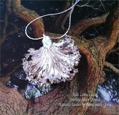 Real Leaves Jewelry, Kale Lettuce Leaf Necklace Pendant Sterling silver, gold, colors - Amazing