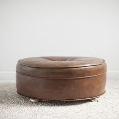 Brown Leather Ottoman | Masculine, Mid-Century Modern | Birch & Brass Vintage Rentals | Weddings and Corporate Events | Austin, Texas
