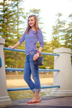 nautical top, casual chic outfit