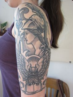 Pallas Athena: the patron of heroic endeavors, the symbol of wisdom in battle, of knowing when to fight the right fight and how to fight it well. Not blind peace, not blind warfare, but justice.