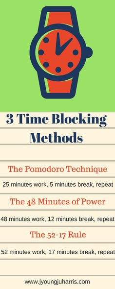 Some time blocking methods that can help with writing and productivity: https://jyoungjuharris.com/2016/12/28/3-time-blocking-methods/