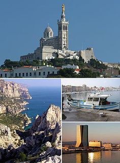 Marseille is the second largest city in France after Paris. The city is dominated by the basilica of Notre-Dame-de-la-Garde. The Calanque of Sugiton is a rugged coastal area to the east. Cma Cgm, Marseille France, Provence France, Barcelona, Old Port, Triomphe, France Travel, Places To See, Paris Skyline