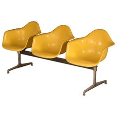 Charles & Ray Eames Three-Seat Shell Tandem Chairs for Herman Miller Vitra