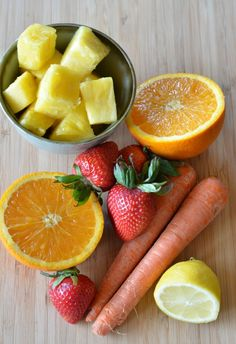 Vitamin C Immune Booster Smoothie   INGREDIENTS_   1/2 cup fresh pineapple 1/2 cup fresh strawberries, stemmed and diced 1/2 orange, peeled and cut into segments 1 large carrot, cut into 1/4 inch chunks juice of 1/2 lemon 1/2 cup almond milk handful of coconut water ice cubes *mountainmamacooks.com