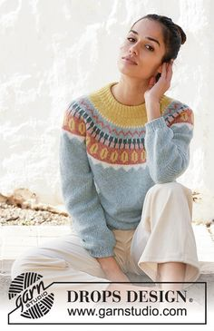 Free knitting patterns and crochet patterns by DROPS Design Nordic Pullover, Poncho Pullover, Nordic Sweater, Drops Design, Knitting Patterns Free, Free Knitting, Crochet Patterns, Dk Weight Yarn, Work Tops