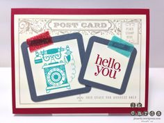 Stampin' Up!, Timeless Post Card Tape, Timeless Talk, Regarding Dahlias, Post Card, Tape It, Vellum Card Stock, Squares Collection Framelits, 3/16 Corner Rounder