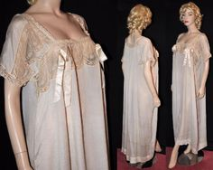 Vivacious Victorian! Rare & Unworn 1900s Ankle-Length Silk Night Dress Sz- 50 (#1272)