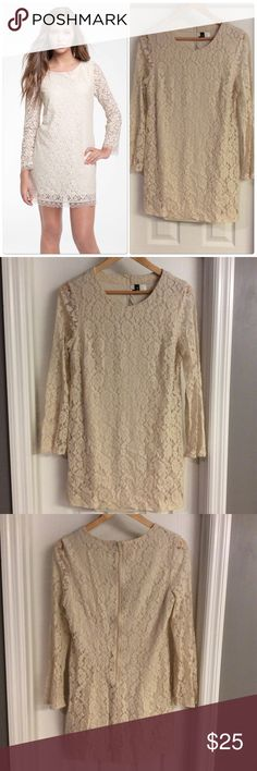 H&M Beige Lace Mini Dress Elegant and sexy at the same time. Simply beautiful! In great condition! H&M Dresses Mini