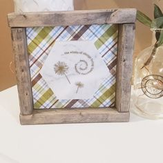 """Marble Wooden Shelf Sitter in Farmhouse Frame - Dandelions - Quote """"the winds of change bring treasures unknown....embrace change."""""""