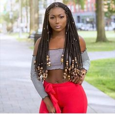 Braids With Bead Embellishments - 40 Best Big Box Braids Hairstyles Big Box Braids Hairstyles, Flat Twist Hairstyles, Black Girls Hairstyles, Braided Hairstyles, Protective Hairstyles, Black Girl Braids, Girls Braids, Afro, Curly Hair Styles