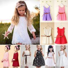 40d96d6c5b05 Flower Girl Princess Dress Kids Baby Party Wedding Pageant Tulle Tutu Lace  Dress