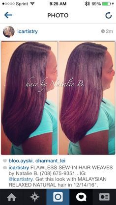"FLAWLESS SEW-IN HAIR WEAVES by Natalie B. (708) 675-9351...IG: @icartistry. Get this look with MALAYSIAN RELAXED NATURAL hair in 12/14/16"", available online at www.naturalgirlhair.com."