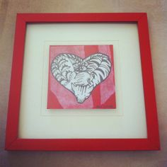 cute framed original drawing of two kitten creatures curled into the shape of a heart by Ash Lethal